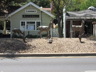 Downtown Art Deer Family Bronze Sculpture by Evelyn Davis on Monterey