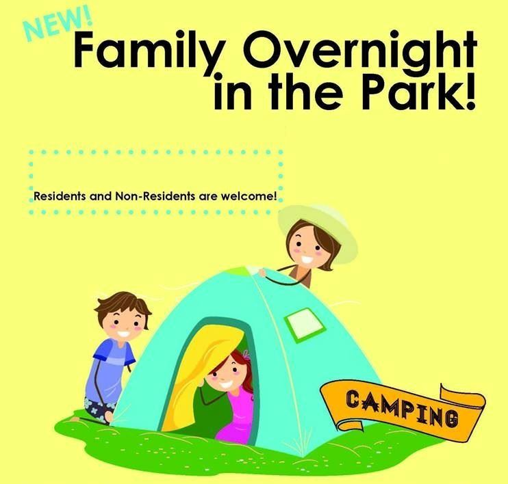 New! Family Overnight in the Park flyer showing camping in a community park.