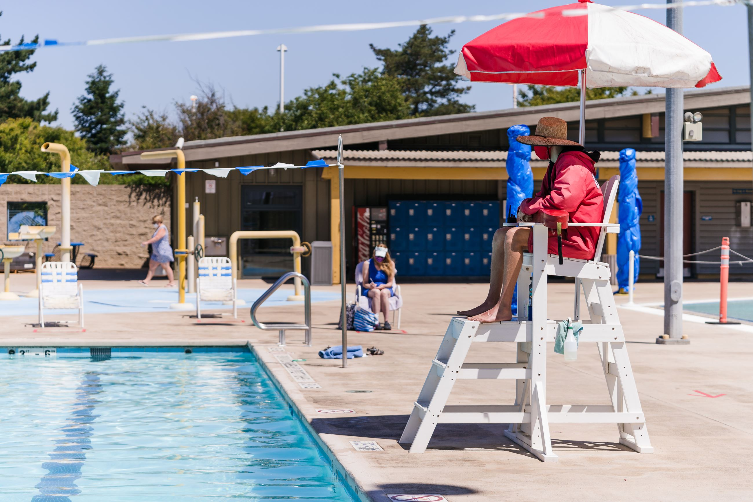 Lifeguard at Aquatics Center during COVID-19